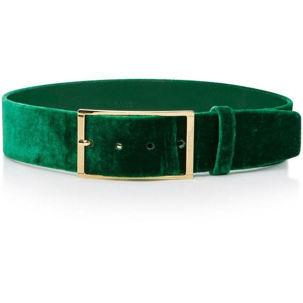Elie Saab     High Waist Velvet Belt ($375) ❤ liked on Polyvore featuring accessories, belts, green, velvet belt, elie saab, green belt and buckle belt