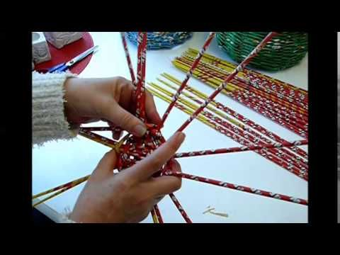 Korb flechten - Baskets made with magazines - YouTube