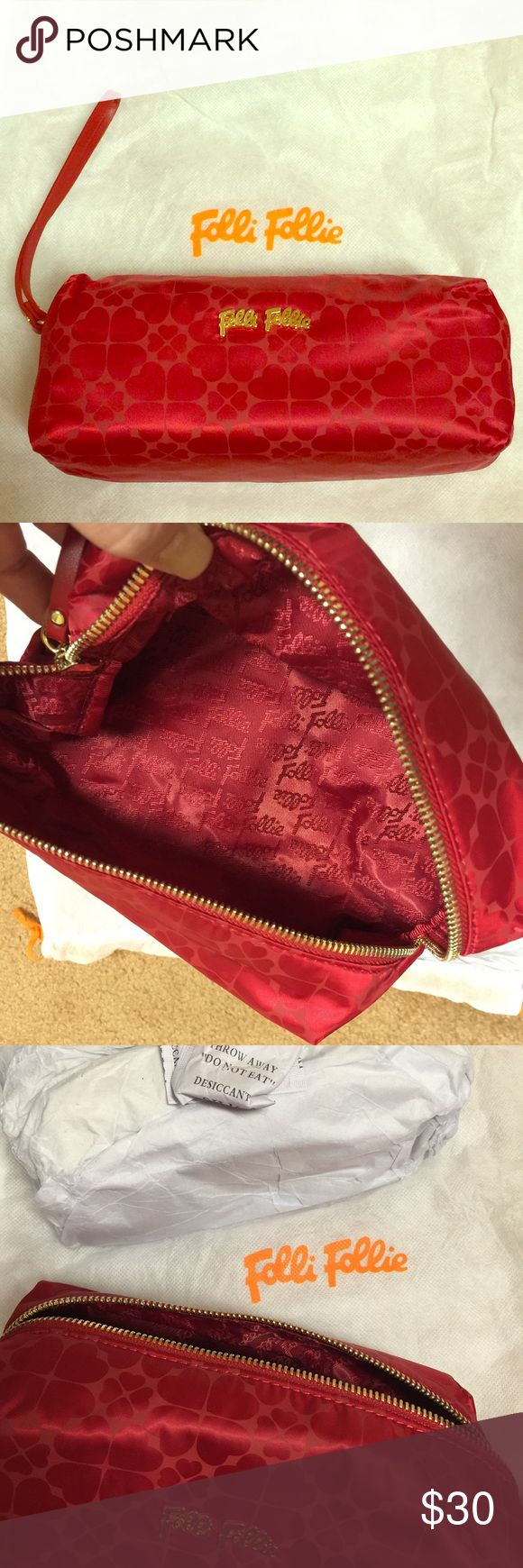 """Cosmetic/pen bag NWOT.✨Red cosmetic bag or perfect for pens! Comes with dust bag. Red leather zipper pull with red """"Folli Follie"""" imprint inside. Gold zipper with gold """"Folli Follie"""" emblem.♥️ Folli Follie  Bags Cosmetic Bags & Cases"""