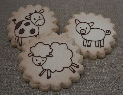 Vintage farm animal cookies