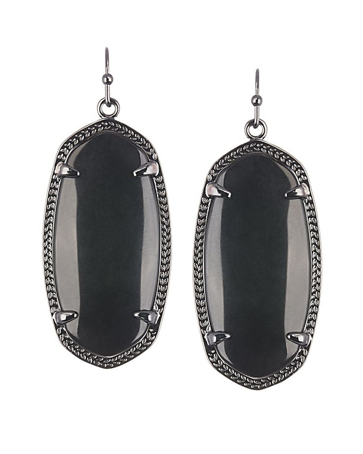 Elle Gunmetal Earrings in Black - Kendra Scott Jewelry. Coming October 15! // Love these - would go with so much that I have!