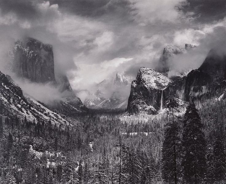 """""""To photograph truthfully and effectively is to see beneath the surfaces."""" — #AnselAdams  #HappyBirthday to the pioneering landscape photographer, Ansel Adams. With a career that spanned seven decades and a wide variety of subject matter, Adams is best known for his images of the American West. A dedicated artist-activist, Adams helped define the craft of photography and a growing environmental consciousness in the United States. • """"Clearing Winter Storm, Yosemite National Park,"""" c. 1937…"""