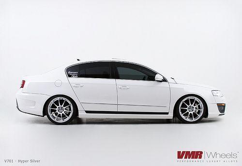 """VMR Wheels V701 19"""" Hyper Silver on Volkswagen Passat B6 White"""