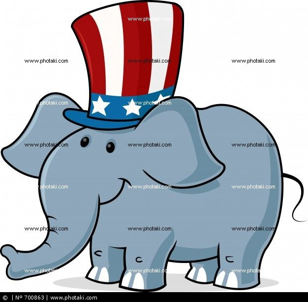 vector image of an elephant wearing a hat uncle sam