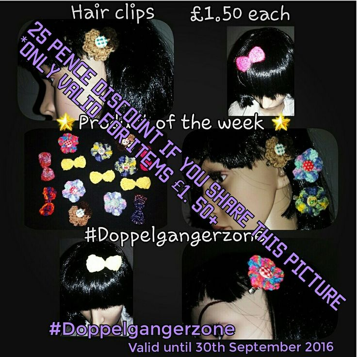 #ProductoftheWeek #handmade #Crochet #hairclips #bows #flowers #hair #accessories #MadetoOrder #request #Doppelgangerzone #OneOfAKind #BuyHandmade #share