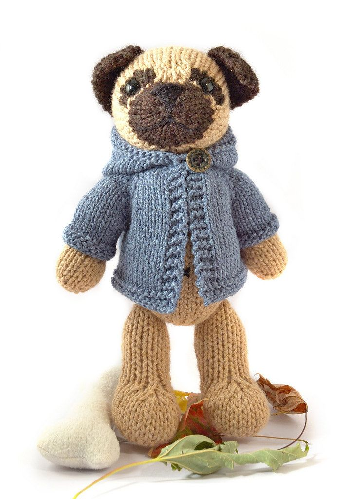 Pug with Anorak Knitting Pattern by fuzzymitten on Etsy ...