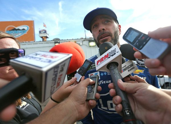 Jimmie Johnson, driver of the #48 Lowe's Chevrolet, taks to the media during the Monster Energy NASCAR Cup Series Can-Am 500 at Phoenix International Raceway on November 12, 2017 in Avondale, Arizona.