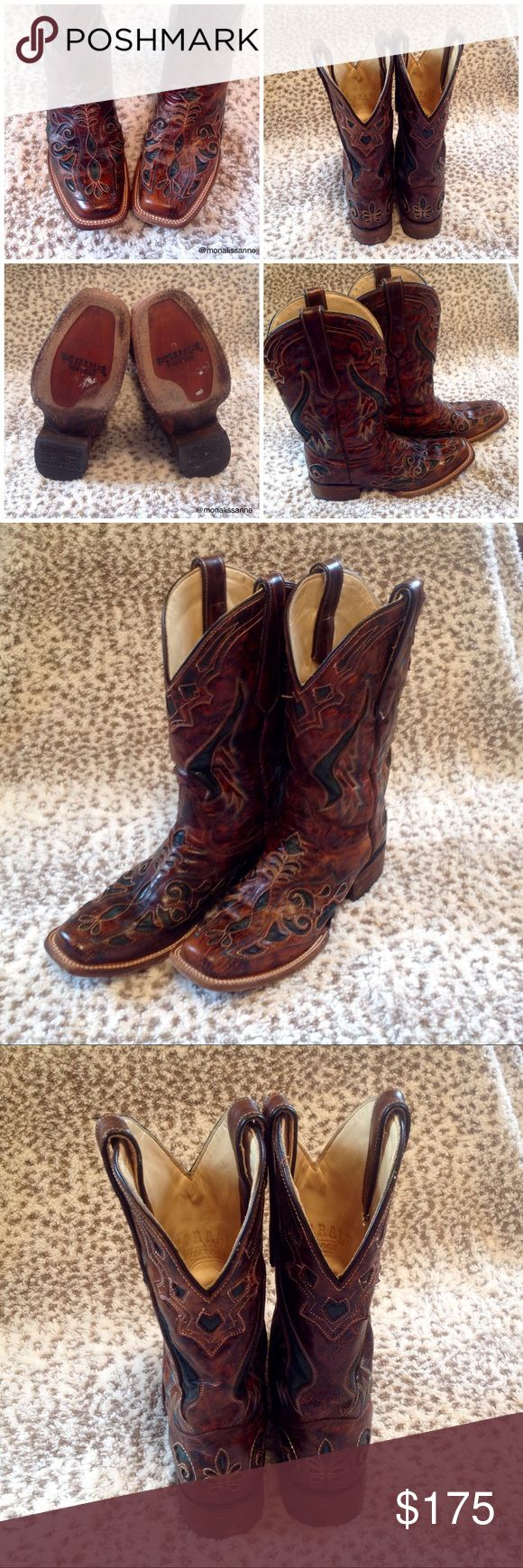 Corral Vintage Boots Worn a few times. Cleaned and conditioned with leather lube. Brown with dark turquoise insets. These are beautiful in person! Size 9 1/2 M. Corral Vintage boots are made from real leather. Corral Vintage Shoes