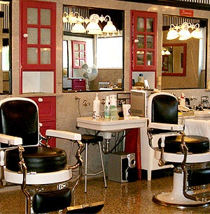 Hotel Saskatchewan, where you can visit the classic barber shop
