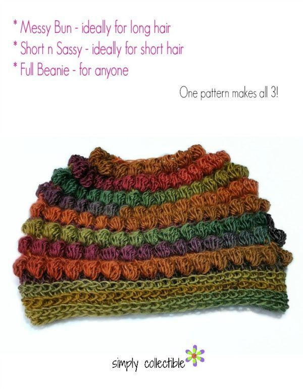 FREE Crochet Pattern - Bibbity Bobbity 3-in-1 Messy Bun Hat plus Short n Sassy (includes full beanie) I present the most awesomeness for those with short n sassy hair, long hair, and even those with no hair. I will be presenting this pattern to make and donate to those who are battling the effects of cancer and chemotherapy. It's loose and super comfy!