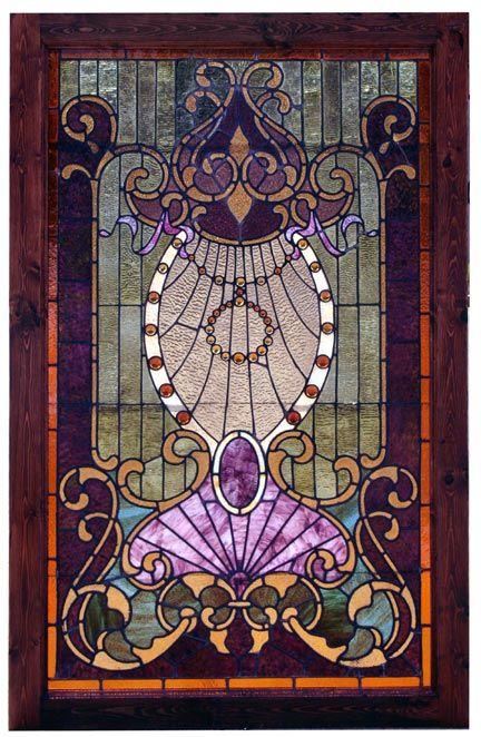Antique Art Nouveau Stained Glass Landing Window, ca. 1900