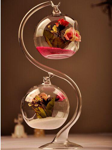 Casa criativa bonito bolas de vidro pendurado dois pote decorativo flor vaso terrário planta de ar para decoração de natal(China (Mainland))
