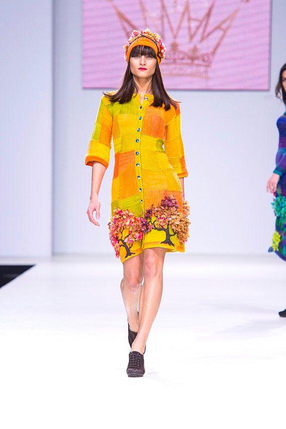 Knitted summer handmade dress for girls PARK GUELL