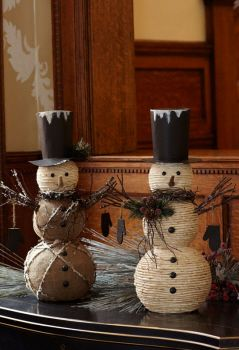 burlap and jute snowmen