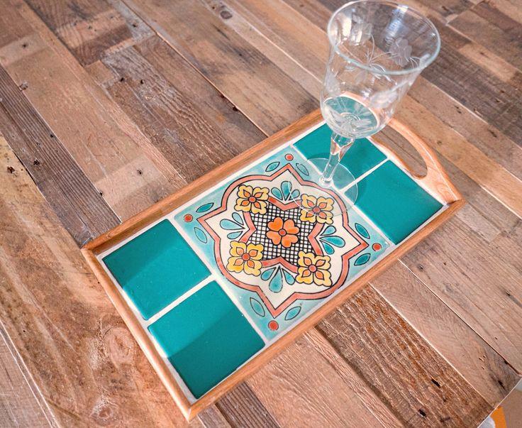 Serving tray, coffee table tray, ottoman tray, wood tray, tile tray, Mexican,housewarming gift,talavera tile, wedding gift,boho,organization by TheCozyCasita on Etsy https://www.etsy.com/listing/474837362/serving-tray-coffee-table-tray-ottoman