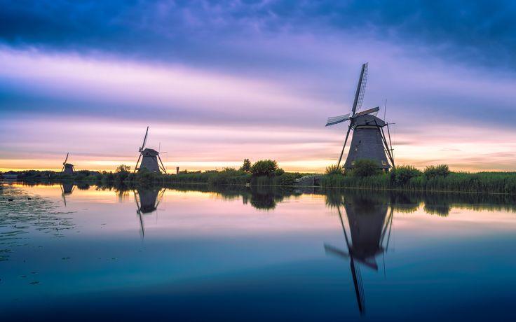 Photo Kinderdijk windmills after sunset - UNESCO world heritage by Martijn Kort on 500px