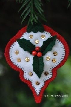 felt Holly bulb ornament