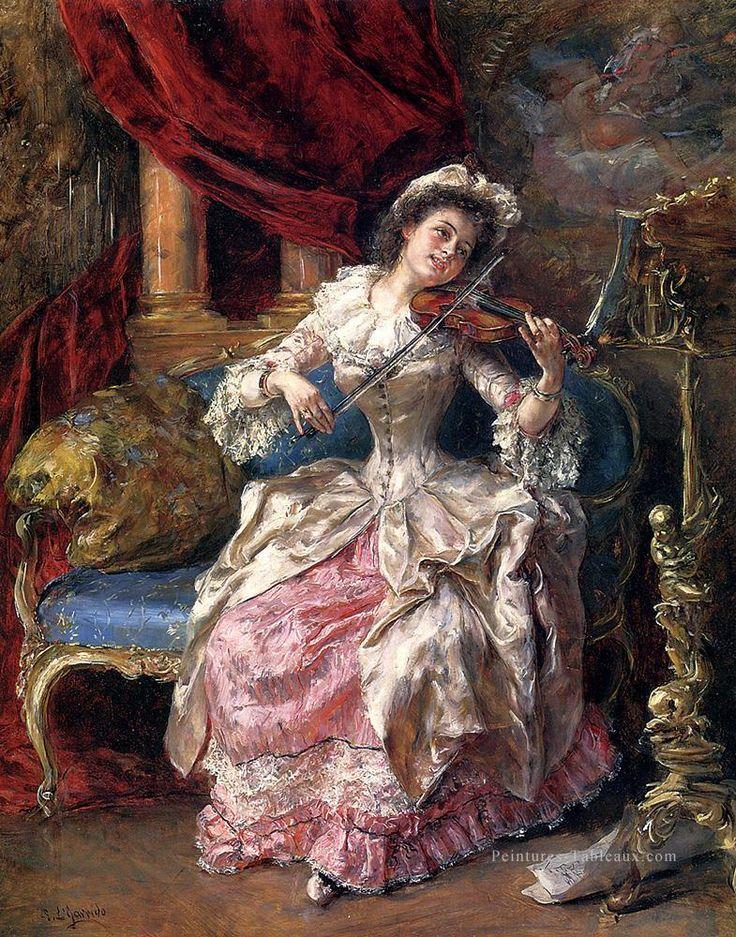 A Musical Afternoon woman Eduardo Léon Garrido Peintures à l'huile