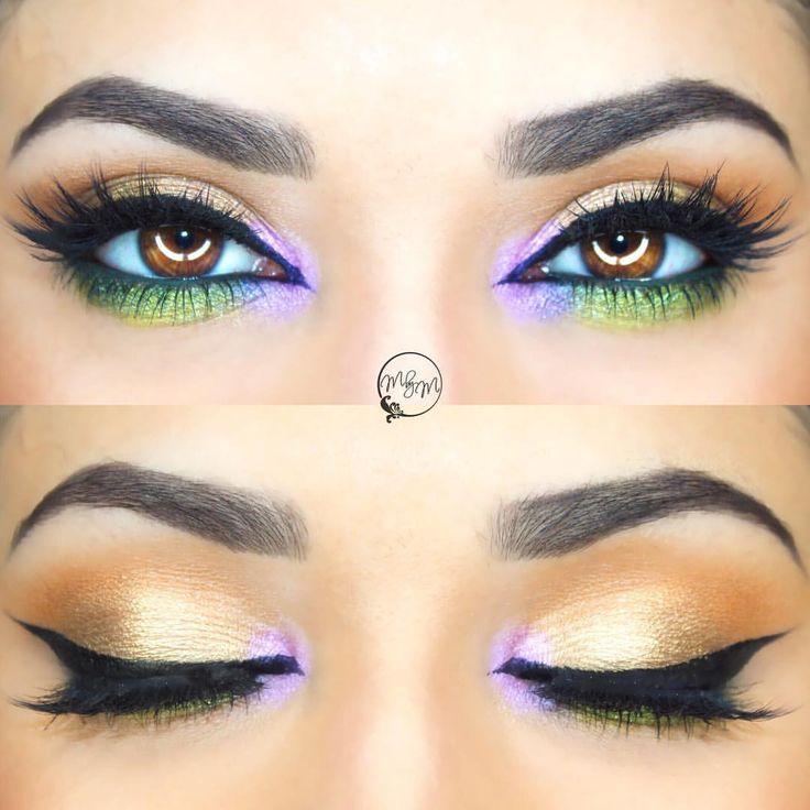 """Meggan Dupre Ory on Instagram: """"Happy Mardi Gras!  Product details @toofaced shadow insurance primer @too faced peanut butter and jelly palette in shades jelly, peanut butter, extra creamy, and bananas! @makeupgeekcosmetics pixie dust eyeshadow @benefitcosmetics green push up liner @tartecosmetics tartiest clay paint liner @houseoflashes iconic lashes and @toofaced better than sex mascara @anastasiabeverlyhills brow definer pencil #toofaced #anastasiabeverlyhills #houseoflashes #benefit #t"""
