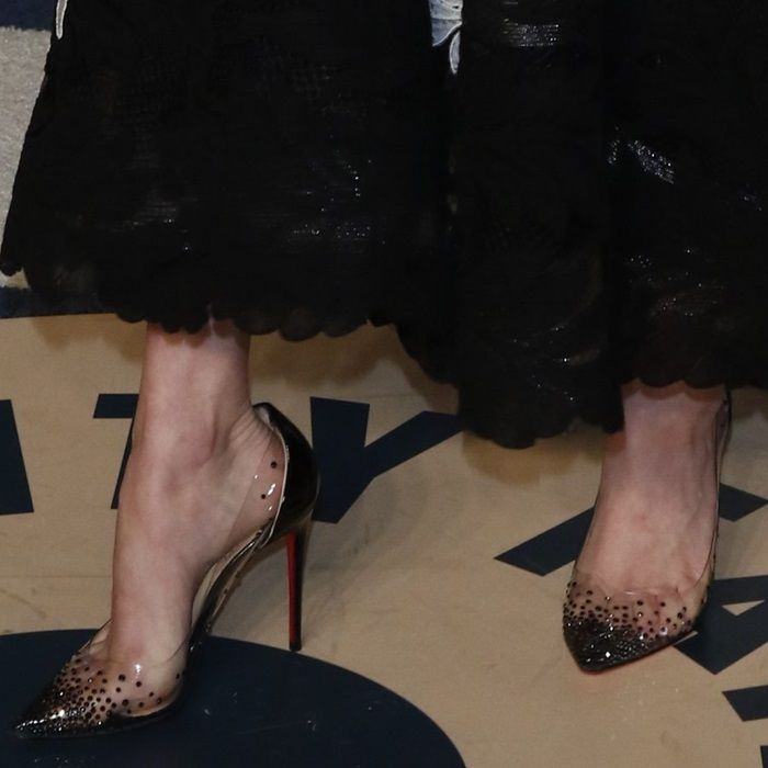 "info for adb49 d0eff Amanda Seyfried's feet in Christian Louboutin's ""Degrastrass ..."