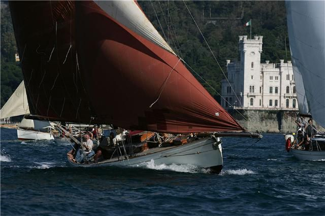 'Moya' built by William Crossfield in 1910 in Arnside. 43ftloa (+bowsprit) has always been a yacht with luxurious accommodation. Initially based in Preston, had engine fitted in 1924 and in '27 converted to a yawl. In '29 moved to Lancaster, reconverted to a cutter in '48. In early 50s home was The Solent and took part in Fastnet race in '75. In '88 was sold in Italy, underwent major restoration and lies in Trieste at north end of Adriatic.