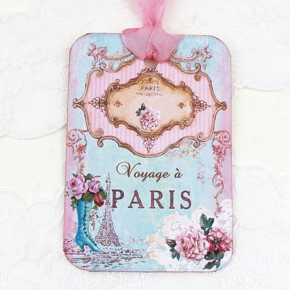 Tags Paris Gift Hang Bridal Shower Party by EnchantedQuilling
