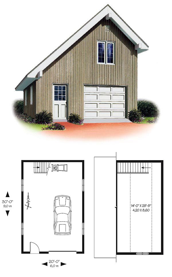 27 best one car garage plans images on pinterest car for Lofted garage