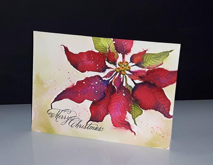 Poinsettia dessiné et mis en couleur par Micheline 'Mimi' Jourdain - étampe souhait 30-381 de Penny Black - vidéo sur facebook:  Mimi A La Carte