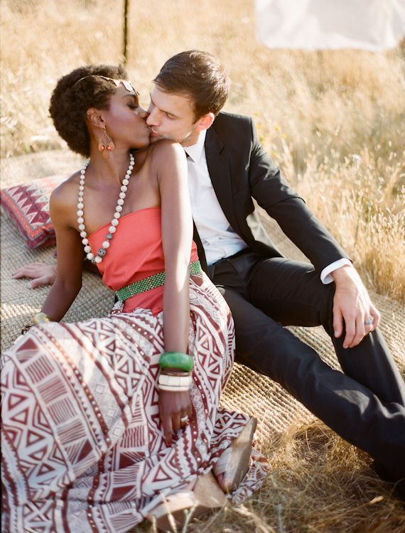 African Wedding Black Women White Men Kissing Beautiful -3671