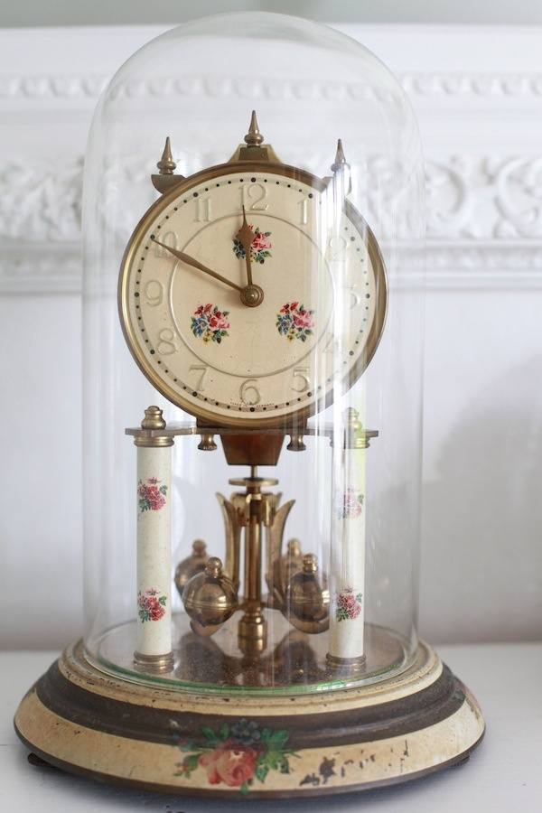 Heirloom Antique German Domed Mantel Clock....Shabby Chic Pink Roses Circa 1930