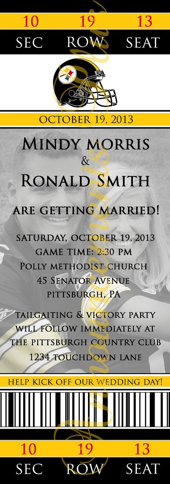 Football Theme Wedding Invitation by AnnouncementsPlus, $15.00 (any team or sport available) sports save the dates, baseball save the dates #wedding #sports
