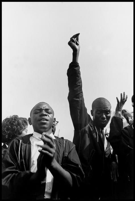 Washington, D.C. August 28, 1963. Members of the Student Nonviolent Coordinating Committee (SNCC) sing freedom songs during the March on Washington.