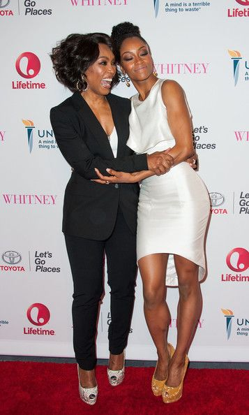 "Angela Bassett Photos Photos - Director/actress Angela Bassett (L) and actress Yaya DaCosta arrive at the Premiere Of Lifetime's ""Whitney""  at The Paley Center for Media on January 6, 2015 in Beverly Hills, California. - 'Whitney' Premieres in Beverly Hills"