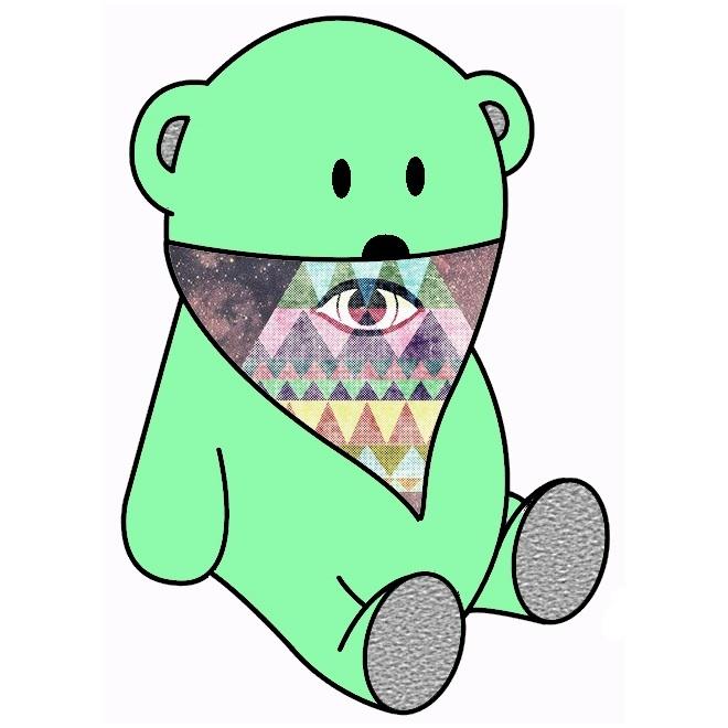 light green bear & pyramid eye bandana