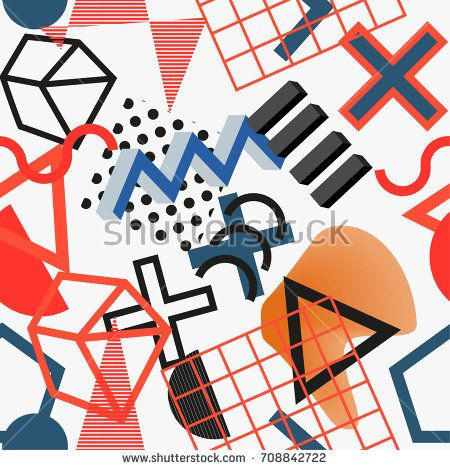 Vector abstract geometric pattern in modern memphis style. Background for web,cover, magazine, brochure, poster, party, vintage textile, sport wear. Trendy graphic print for hipsters.