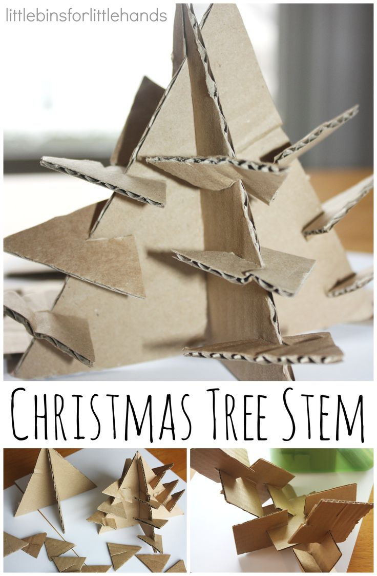 Christmas tree STEM activity with cardboard Christmas trees