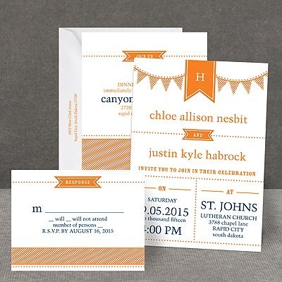 Preppy Pennant   All In One Invitation