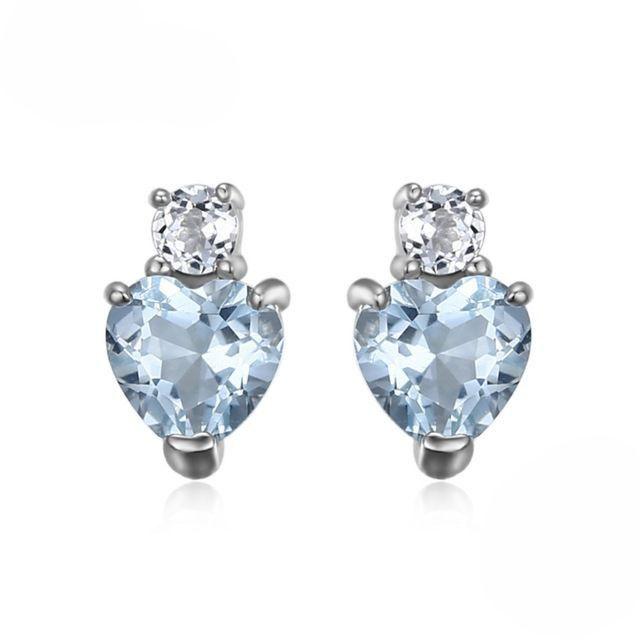A Single Heart, Natural Aquamarine White Topaz Earrings