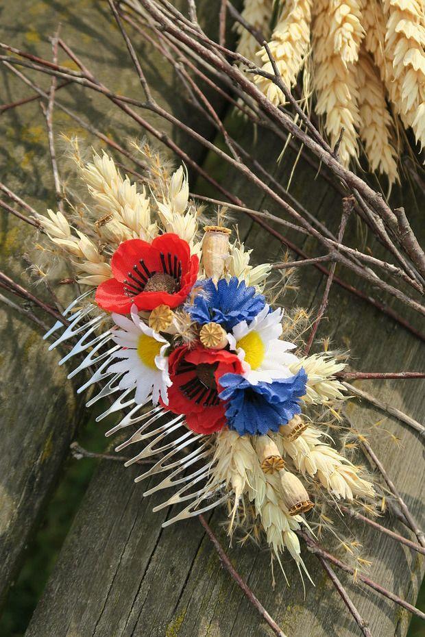 květinový hřebínek do vlasů luční, haircomb
