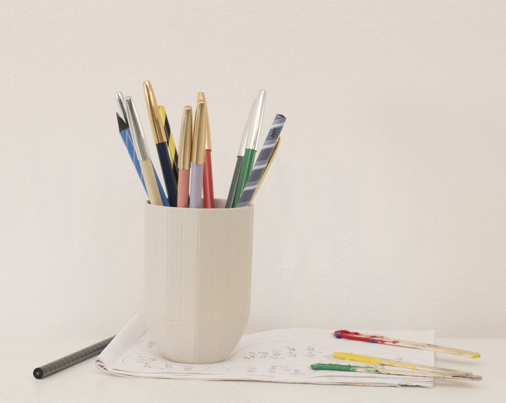Paper Porcelain mug and HAY pencils.