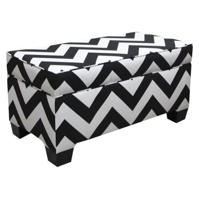 Skyline Zig Zag Black And White Upholstered Storage Bench