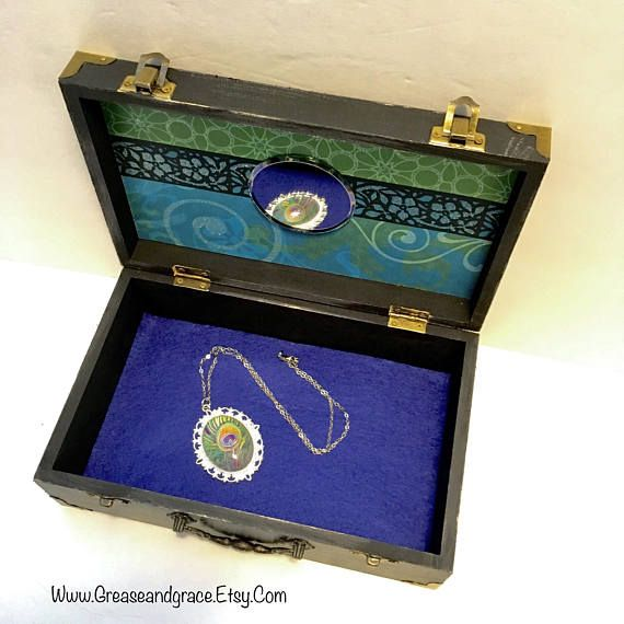 Peacock Feather Jewelry Box Keepsake Box Trinket Box, Necklace Available Separately.