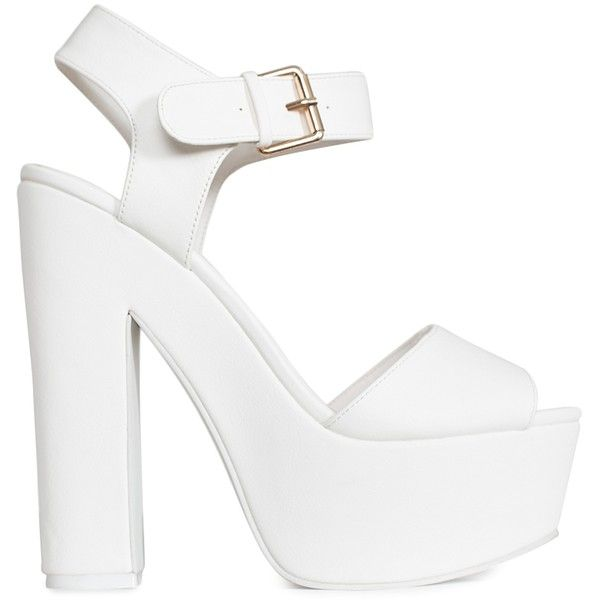 Nly Shoes Chunky High Heel Sandal ($59) ❤ liked on Polyvore featuring shoes, sandals, heels, white, party shoes, womens-fashion, white platform shoes, heeled sandals, white high heel sandals and chunky heel shoes