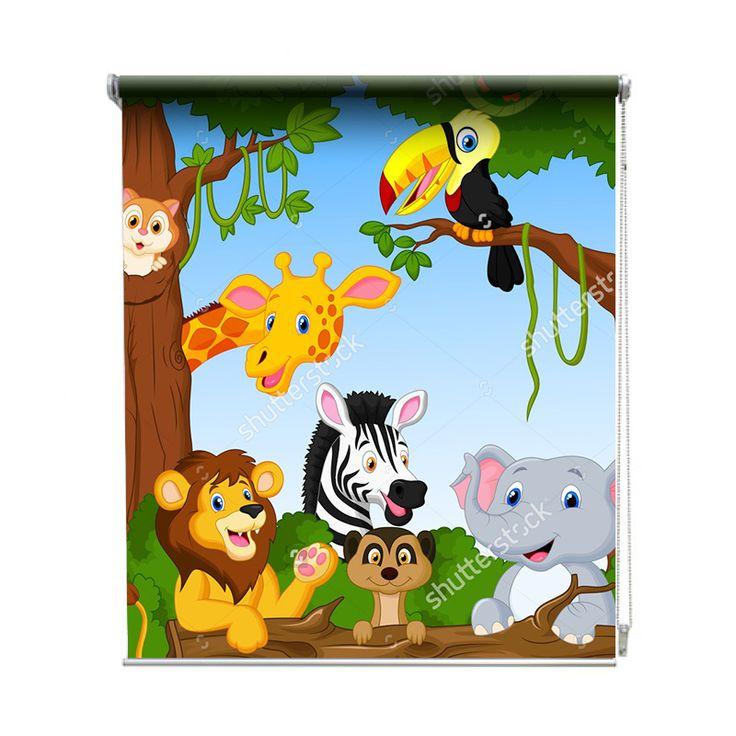 Rolgordijn Dierenpret | De rolgordijnen van YouPri zijn iets heel bijzonders! Maak keuze uit een verduisterend of een lichtdoorlatend rolgordijn. Inclusief ophangmechanisme voor wand of plafond! #rolgordijn #gordijn #lichtdoorlatend #verduisterend #goedkoop #voordelig #polyester #dieren #pret #vrolijk #cartoon #illustratie #giraf #giraffe #toekan #olifant #leeuw #kinderkamer #baby #babykamer #zebra