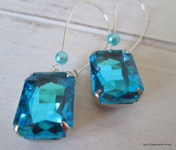 Aquamarine Earring Blue Earring Sapphire by SpiritSparkleWhimsy