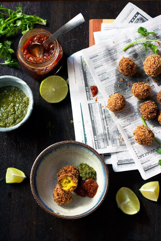 Spicy Indian Potato Balls with Fresh Coriander Chutney To convert to vegan, use coconut oil instead of ghee.