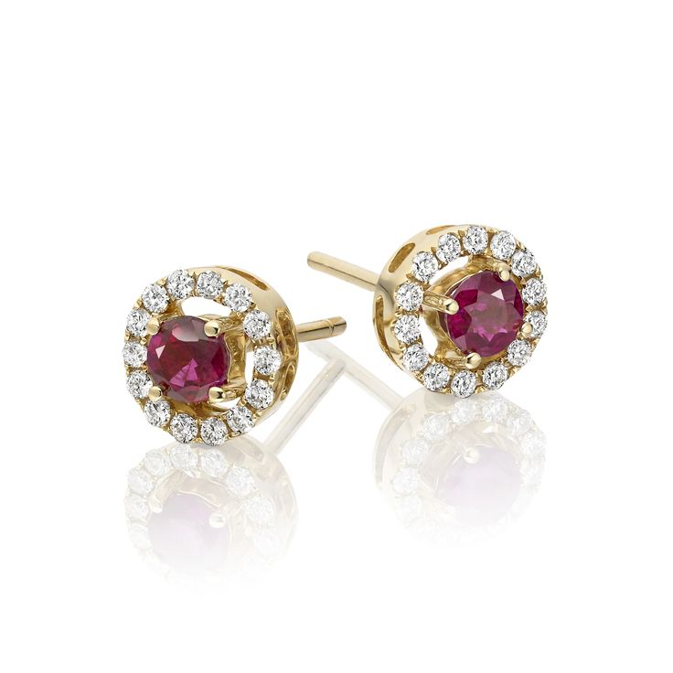 These elegant red ruby and diamond stud earrings include brilliant cut diamonds with a total weight of 0.22ct. These are cleverly set to complement the featured red ruby which is round and weighs 0.40ct. These earrings are crafted in 9K yellow gold and are complete with a pair of push on butterfly backs.