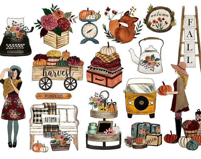Fall Clipart Fall Planner Clipart Planner Clipart Planner Etsy Fall Drawings Clip Art Journal Stickers