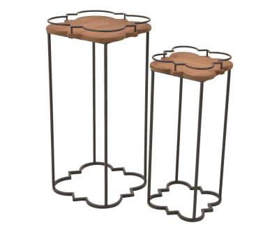 2 Tables d'appoint ZACHARY sapin - naturel et gris