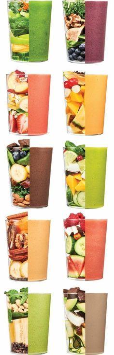 recettes smoothies d une grande variété de couleurs et de goûts, régime santé et minceur